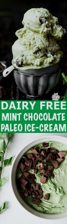 This creamy and refr  This creamy and refreshing mint ice-cream stuffed with chocolate chunks is the perfect treat for warm summer days. This ice-cream recipe is dairy free, paleo, and has a vegan option as well.  https://www.pinterest.com/pin/538039486724509568/