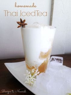 Real Food Thai Iced Tea ... this recipe is so delicious + easy to make. Two options too - traditional black tea or caffeine free + immune-boosting. | Recipes to Nourish