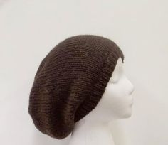 Oversized beanie hat in shades of brown handmade by CaboDesigns