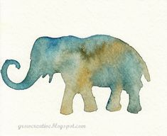 watercolor elephant stencil art : Grow Creative - use a stencil and hold it down on the paper really tight. Then use a mostly dry brush to control the paint better. Looks simple enough. Watercolor Paintings For Beginners, Watercolour Tutorials, Easy Watercolor, Watercolor Animals, Watercolor Techniques, Art Techniques, Watercolor Artwork, Elephant Watercolor, Watercolor Projects