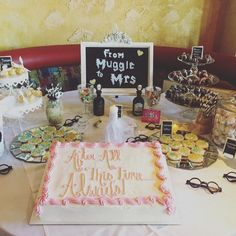 A few weeks ago I was up in New York for my cousin's exciting Harry Potter themed bridal shower! All of us bridesmaids were responsible for bringing desserts to Tea Party Bridal Shower, Bridal Shower Rustic, Bridal Shower Favors, Bridal Showers, Harry Potter Engagement, Harry Potter Wedding, Harry Potter Proposal, Bridal Shower Centerpieces, Groomsman Gifts