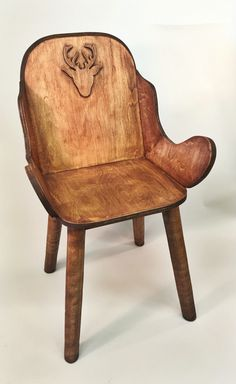 Woodworking - chair - rustic - birch plywood - poplar - deer