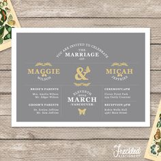 Wedding Invitation  Printable PDF  Papillons par FreckledStationery, $25.00
