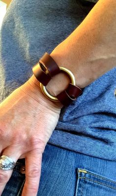 Leather wrap bracelet, leather bracelets, Joanna Gaines Jewelry, Joanna Gaines bracelet, boho bracelet, brass ring leather bracelet by IndieLeather on Etsy https://www.etsy.com/listing/276799448/leather-wrap-bracelet-leather-bracelets