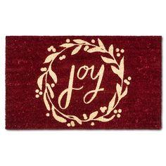 "Red Monogram Holiday Joy Doormat - (1'6""x2'6"") -Threshold™ : Target"