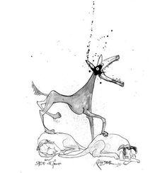 The Ralph Steadman Book of Dogs (public library) by legendary British artist and caricaturist Ralph Steadman
