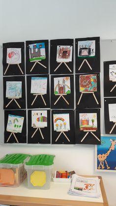 Ijslollystokjes een wit vierkant papier en stiften... Art For Kids, Crafts For Kids, Arts And Crafts, Kindergarten Projects, Collage, Dot Painting, Rembrandt, Colouring Pages, Artist