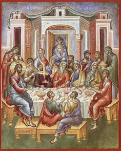 This icon is either the wedding at Cana or the Mystical Supper. Byzantine Art, Byzantine Icons, Religious Icons, Religious Art, Life Of Christ, Jesus Christ, Renaissance Era, Eucharist, Last Supper
