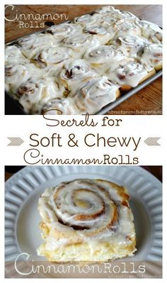 Learn the secrets to a soft and chewy cinnamon roll. These rolls are one of my Grandm'as most remembered and desired recipes. Cinnamon rolls smothered with cream cheese frosting! What could be better? Kinds Of Desserts, Fun Desserts, Delicious Desserts, Dessert Recipes, Dessert Ideas, Cinnamon Roll Icing, Rolls Recipe, Recipe Box, Icing Recipe
