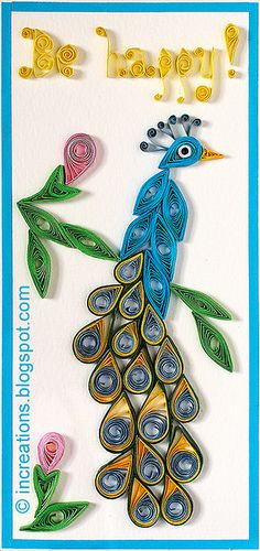 Peacock card. Quilling by Inna's Creations, via Flickr