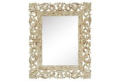 """Layla Mirror on OneKingsLane.com    Made of:     resin/glass Size:     27""""W x 1.25""""D x 33""""H Weight:     12 lbs Finish:     antiqued wood"""