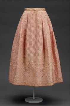 Petticoat, marseilles, European Silk mattelesse weave with cotton satin waistband, and silk tape, MFA Boston