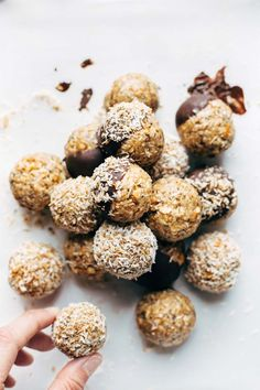 Energy Bites! Easy no-bake recipe with real food like oats, chia seeds, peanut butter, and coconut. Stays soft and yummy for weeks in the fridge! | http://pinchofyum.com