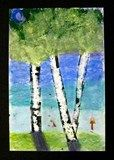 gorgeous variation on birches - looks like masked trees, chalk background, sponged leaves?