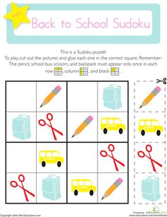 Picture Sudoku: Back to School Worksheet On this kindergarten math worksheet, kids use their logical reasoning and critical thinking skills to solve a picture Sudoku puzzle with a back to school theme. Pattern Worksheets For Kindergarten, Patterning Kindergarten, Back To School Worksheets, Worksheets For Kids, Seasons Worksheets, Printable Worksheets, Free Printable, Sudoku Puzzles, Thinking Skills