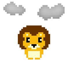 天気実況大阪曇り #pixelart #lion #weather #osaka #ドット絵 #ライオン #天気 #大阪