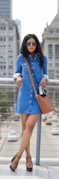 Denim Shirt Dress / Fashion by Walk In Wonderland ♠ re-pinned by http://www.wfpblogs.com/author/rachelwfp/