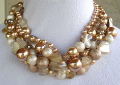 Reserved Seashell and Pearl Statement Necklace by MindfulDesign