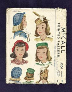 Vintage 1945 McCalls 1204 Young Ladies Hats by ThimbledFingerTips, $45.00
