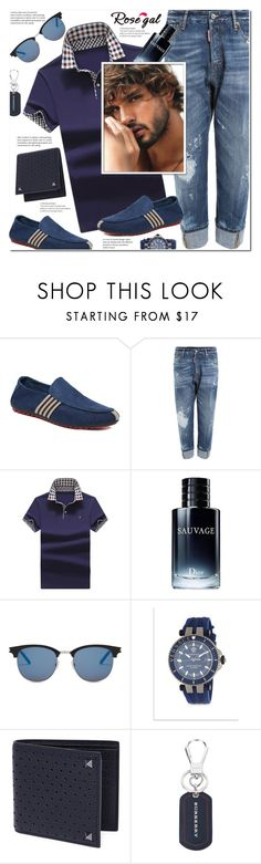 """Men's Polos"" by j-sharon ❤ liked on Polyvore featuring Dsquared2, Christian Dior, Yves Saint Laurent, Versace, Valentino, Burberry, men's fashion and menswear"