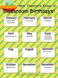 Celebrating Student Birthdays! - The Organized Classroom Blog  http://www.theorganizedclassroomblog.com/index.php/blog/celebrating-student-birthdays