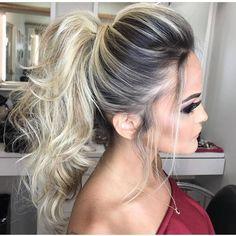 Hairstyles for long hair High Pony Hairstyle, Pony Hairstyles, Wedding Hairstyles, Big Hair Rollers, Hair Doo, Stylish Hair, How To Make Hair, Bridesmaid Hair, Hair Inspiration