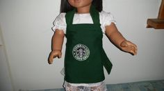 Handmade Doll apron with Starbucks type logo by TheCraftCoop