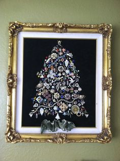 Call It What You 'Quill': 'BEJEWELED' Christmas Tree. Made from buttons, earrings, necklaces, etc.