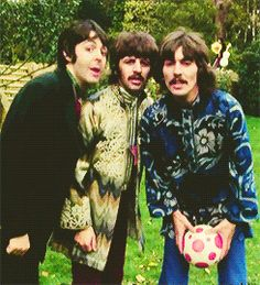 "3rd November 1967. George, Paul and Ringo film extra footage for ""BLue Jay Way "" at Sunny Heights."