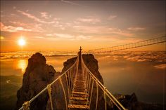 The hanging bridges of Ai-Petri, Ukraine, are located at a peak of the Crimean Mountains. Winds at this altitude can blow up to 110mph. There is a cable car that takes passengers and those brave enough to the main area in Ai-Petri.