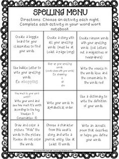 I use this menu with my students during word work time. We use Words Their Way for our spelling words. They always start with the word sort in their notebook and then throughout the week and for homework they are to choose an activity to complete in their notebooks.