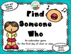 This FREEBIE is the perfect Back-to-School game! It is so fun to start your first day of choir or music class with a get to know you game. My students love it! An editable version is even included!