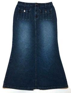 a30b39fe8f No Boundaries Modest Denim Skirt 11 Fit Flare Maxi 30W 36L Long  #NoBoundaries #Maxi