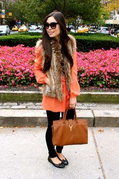 fur vest w/tunic
