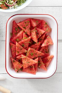 This spiced up watermelon makes everyone's favorite summer treat even better. Recipe: Mojito Watermelon   - CountryLiving.com