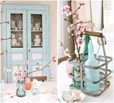 cherry blossoms with light blue accents