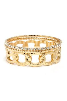 """Young Mula Gold Bangle Set: All that glitters is gold with this bangle set. A set of three shiny gold bands boast their own unique style with one hammered chain, one braided, and one rhinestone bangle. Wear them together or separate for a look thats oh so fresh. Bracelets measure 2.5"""" in diameter $11.00"""