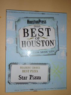 Houston Press Best of 2010 Readers Choice: Best Pizzeria