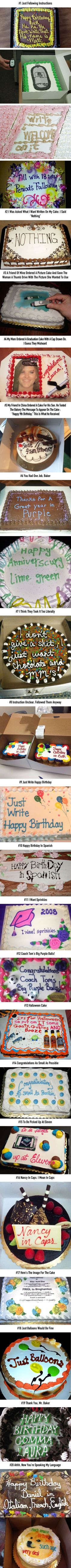Cake decorators who took instructions too literally