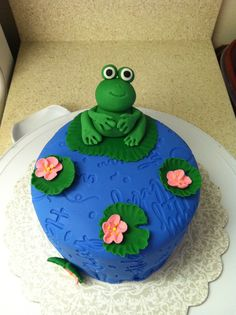 Frog Cake--Fondant Imprint Happy BDay, Fondant Lily Pads, Gum Paste Frog, Royal Icing Flowers