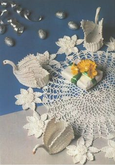 Swan and flowers doily.