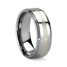 ZEPHYR 6MM/8MM Tungsten Carbide Ring With Sterling Silver Inlay And Grooved  Edges · Cobalt WeddingTungsten ...