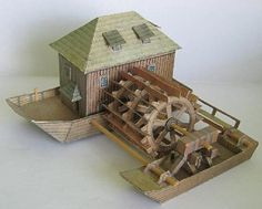 This paper model is a Shipboard Water Mill, created by Richard Vyskovsky. It requires 2 sheets of paper and has lots of small irritating parts. You can dow Monster Cookie Bars, Free Paper Models, Diy And Crafts, Paper Crafts, Water Mill, Paper Ship, Putz Houses, Paper Houses, Paper Toys
