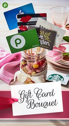 Gift Cards can be the perfect gift and a way to give cash and still show that you pay attention to what she loves! Step it up a notch by arranging a few different cards in the bouquet of flowers! Gift Card Basket, Gift Baskets, Teacher Appreciation Gifts, Teacher Gifts, Thank You Gifts, Gifts For Him, Homemade Gifts, Diy Gifts, Gift Card Bouquet