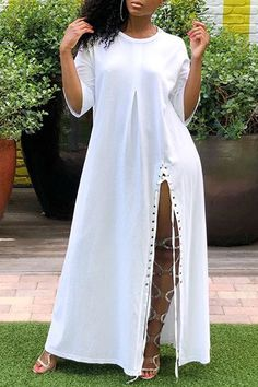Ericdress Split Casual Ankle-Length Simple Plain Dress Fashion girls, party dresses long dress for short Women, casual summer outfit ideas, party dresses Fashion Trends, Latest Fashion # African Fashion Dresses, Fashion Outfits, Fashion Tips, Dress Fashion, African Outfits, Fashion Trends, Fashion Clothes, Stylish Outfits, Fashion Ideas