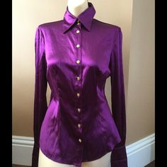 Marciano SILK blouse NWT NWT Marciano purple silk blouse. Beautiful gold details in the buttons and cuff links. French cuff sleeves. Size Small Marciano Tops Blouses