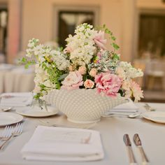 Real Weddings - A Classic Vintage Wedding in Pasadena, CA - White and Pink Centerpieces