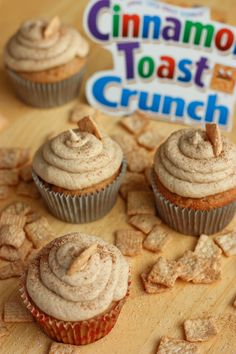 Cinnamon Toast Crunch Cupcakes! This would be perfect with a little Rumchata mixed in