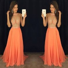 orange prom dress,long prom Dress,cheap Prom Dress,2017 prom dress,beaded prom dress
