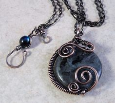 Wire Wrapped  Black Labradorite Pendant Necklace by JayelleJewelry, $43.00